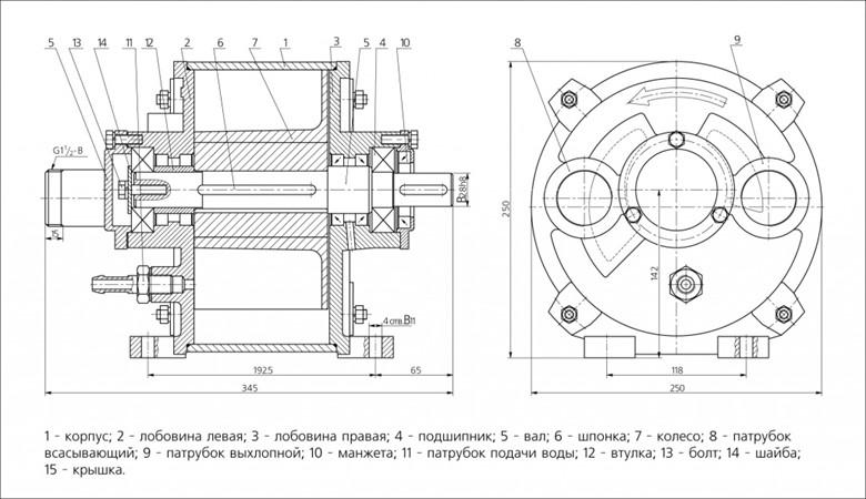 Схема водокольцевого насоса BBH 1-6