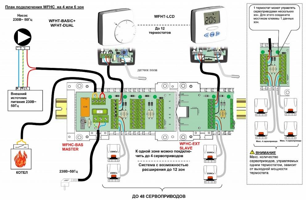 Схема многоточечного подключения термостата